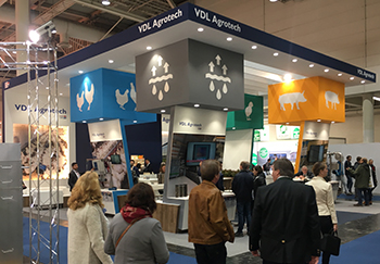 """Clearly visible are the new icons of VDL Agrotech in the exhibition hall."""" width="""
