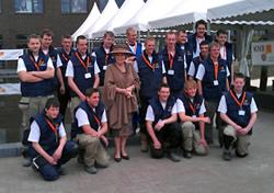 Bezoek Koningin Beatrix aan de metselwedstrijden